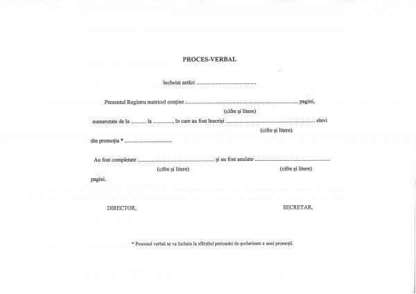 Registru matricol pentru învăţământ primar şi gimnazial, coperta carton gros-hartie-37610