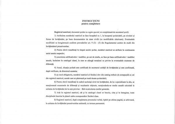Registru matricol pentru învăţământ primar şi gimnazial, coperta carton gros-hartie-37609