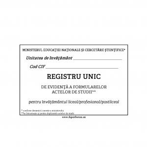 Registru unic evid. inv. liceal, coperta carton duplex-39633