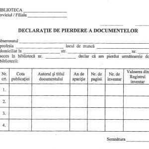 Declaraţie de pierdere a documentelor-0