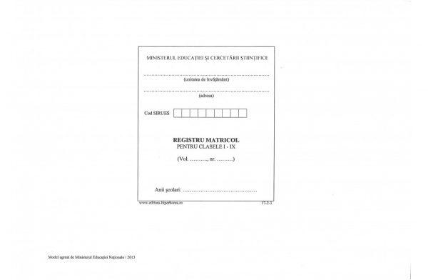 Registru matricol pentru învăţământ primar şi gimnazial, coperta carton gros-hartie-38423